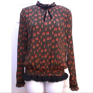 Festive Vintage Sophisticated Mink Trimmed Blouse